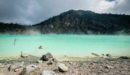 Kawah Putih Bandung White Crater Lake In Ciwidey West Java Indonesia