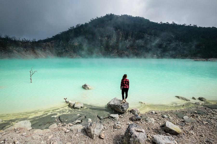 Kawah Putih Bandung White Crater Lake In Ciwidey West Java Indonesia