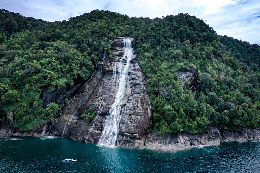 Pulau Mursala Falls Ocean Drone