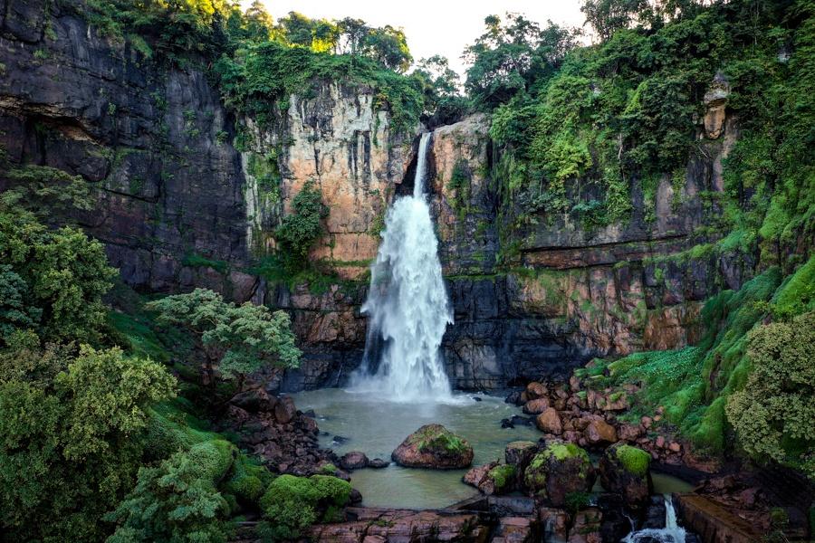 Curug Cimarinjung Waterfall in West Java Drone