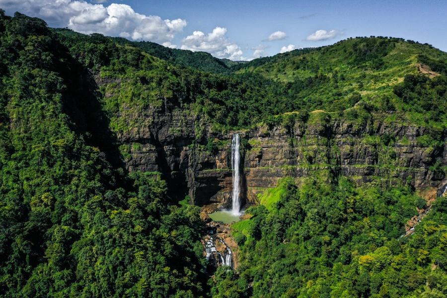 Curug Cikanteh Waterfall in West Java Drone
