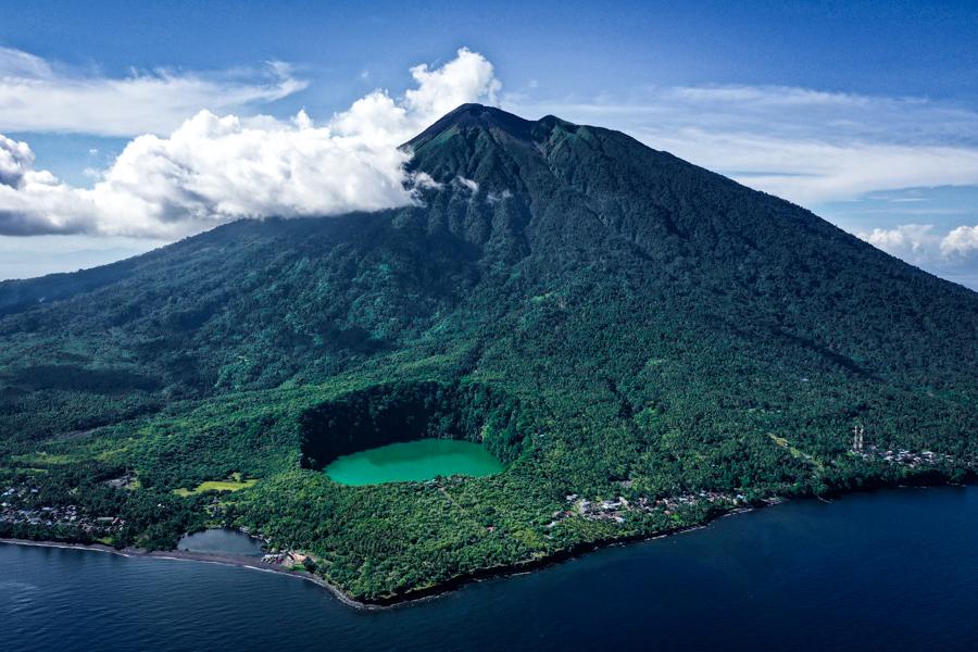 Pulau Ternate Island Danau Tolire Drone Maluku Indonesia