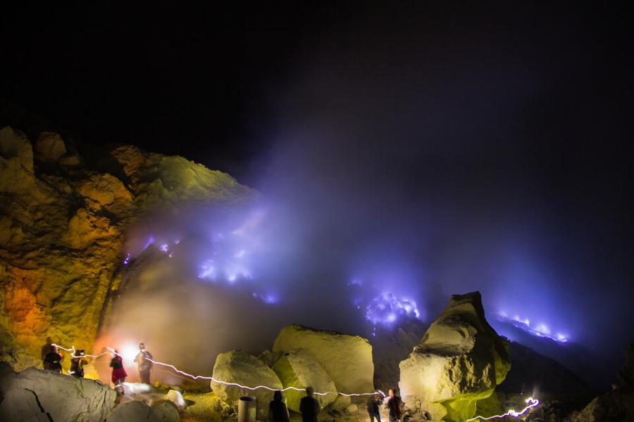 Blue Fire Kawah Ijen Blue Flame Mount Ijen Lava Banyuwangi Indonesia