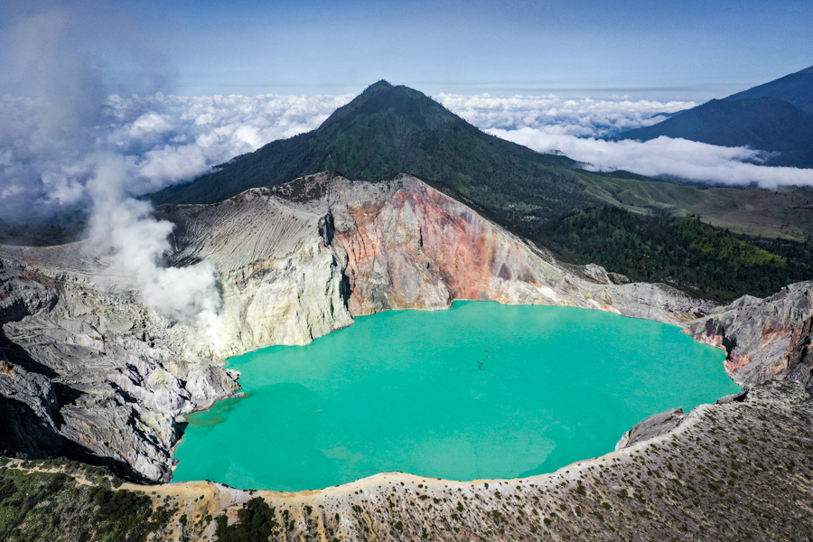 Kawah Ijen Volcano Mount Ijen Crater Lake Blue Fire Banyuwangi Indonesia Drone