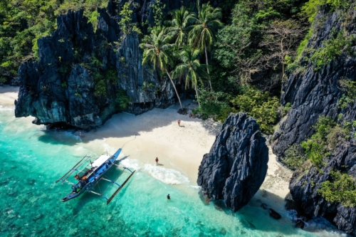 Drone picture of Entalula Beach in El Nido Palawan